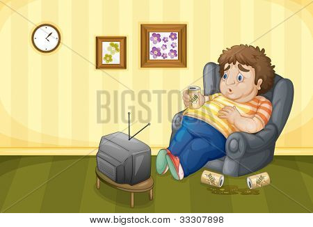 Illustration of a drunk fat man - EPS VECTOR format also available in my portfolio.