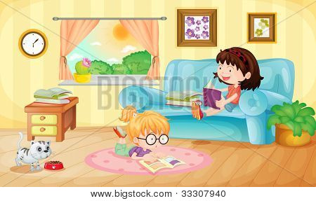 Illustration of girls reading at home - EPS VECTOR format also available in my portfolio.