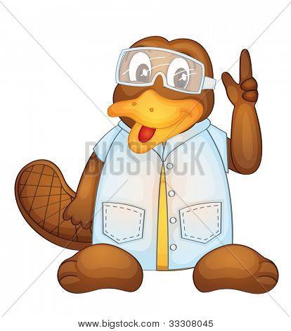 Abbildung der ein Schnabeltier tragen ein Lab Mantel Eps Vektor Format auch in mein Portfolio verfügbar.