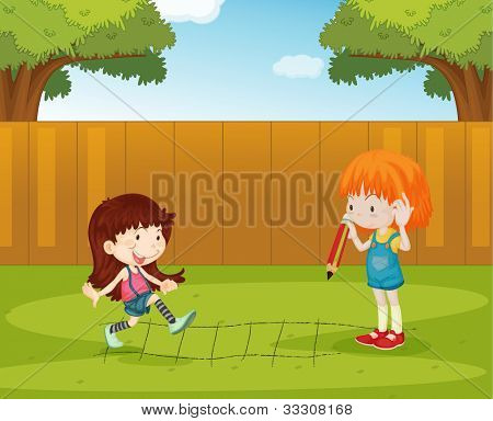 Illustration of girls playing in the backyard - EPS VECTOR format also available in my portfolio.