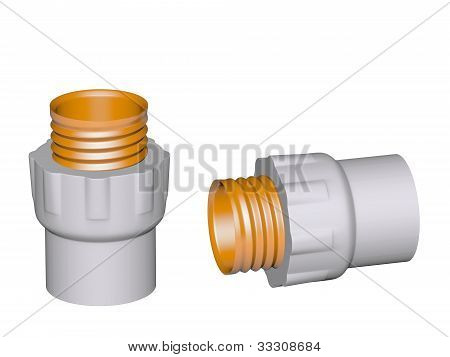 Fitting - Pvc Connection Coupler Outside Screw Thread Powered Isolated On White Background Used To I