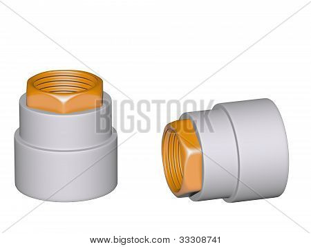 Fitting - Pvc Connection Coupler Inside Screw Thread Isolated On White Background