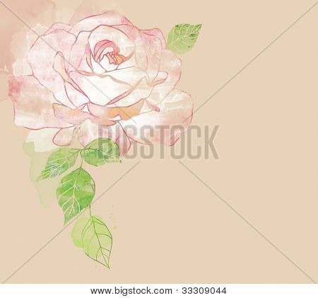 watercolor card with stylized rose