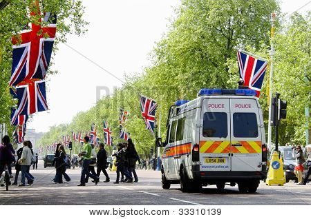 LONDON, UK - APRIL 28, 2011: The Mall is decorated with Union Jack flags in preparation of the Royal Wedding to be held the day after on April 28, 2011 in London.