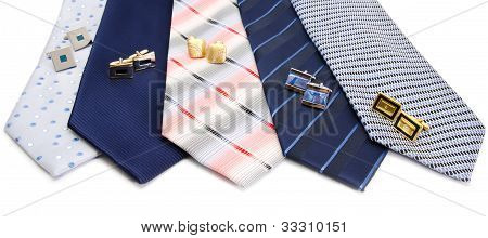 Man Cuff Links And Tie  Isolated On White