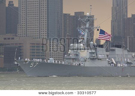 HOBOKEN, NJ  MAY 23: The warship USS Mitscher (DDG 57) sails on the Hudson River past Manhattan during the Parade of Sail on May 23, 2012 in Hoboken, NJ. The parade is the start of Fleet Week.