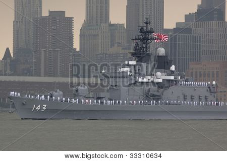 HOBOKEN, NJ  MAY 23: The Japanese warship JS Shirane (Japan) sails on the Hudson River past Manhattan during the Parade of Sail on May 23, 2012 in Hoboken, NJ. The parade is the start of Fleet Week.