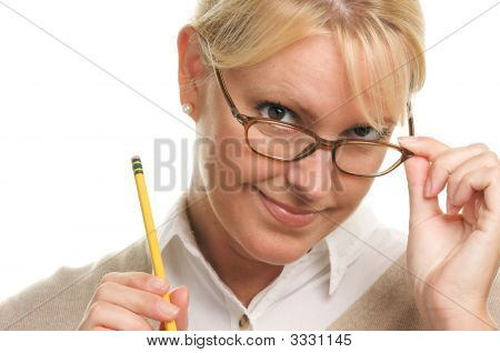 Flirty Woman With Pencil