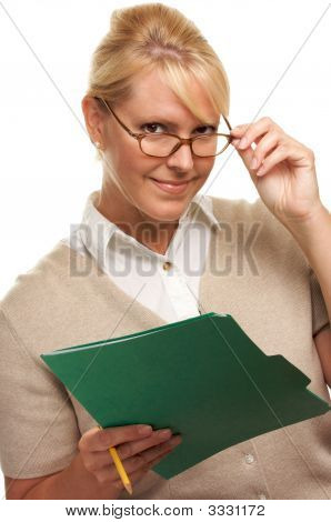 Flirty Woman With Pencil And Folder