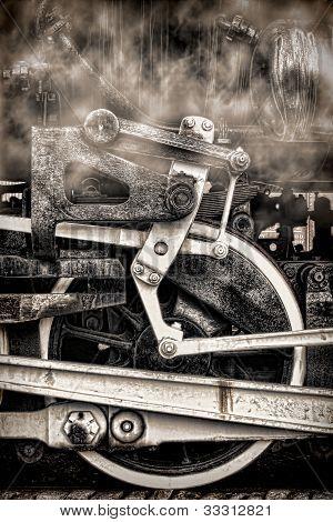 Old Steam Locomotive Vintage Wheels And Smoke