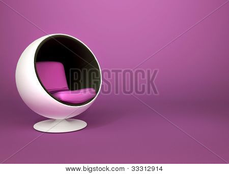 Round Minimalism Armchair On Violet Background. Pop Art. Art-deco