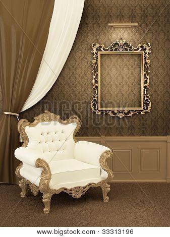 Sillón con el marco en el Interior del apartamento real. Muebles de lujo en el Hall