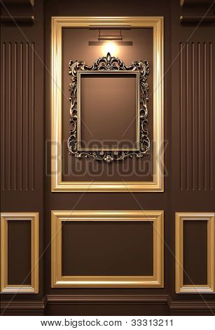 Golden Empty Frame On Wooden Wall In Luxurious Interior. Old Exhibition