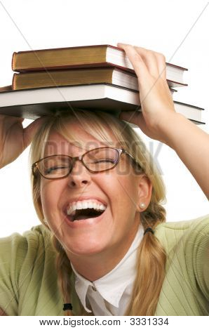 Laughing Girl With Stack Of Books
