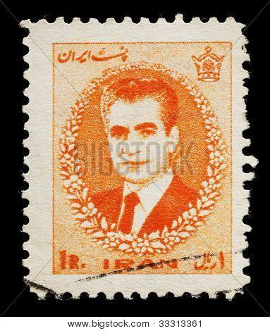 IRAN - CIRCA 1966: a stamp printed in Iran showing Mohammad Reza Pahlavi, the last Shah of Iran, circa 1966