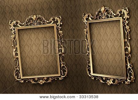 Empty Golden Frames On The Wall. Space Showroom. Royal
