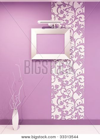 Epmty Frame For Photo On Dicorative Violet Wall With Vegetable Ornament In Modern Interior. Living R