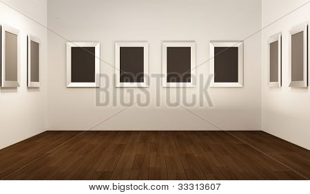 Front Perspective Of Gallery Interior. Empty Frames On Thw White Wall In Showroom.
