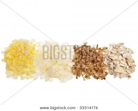 Grain Cereals Flakes  Buckwheat, Oats, Millet, Rice Isolated on white background