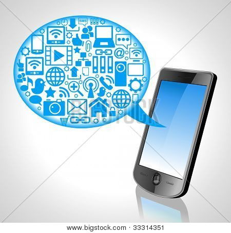 the concept of cloud technology phone technology and Icons. File is saved in AI10 EPS version. This illustration contains a transparency
