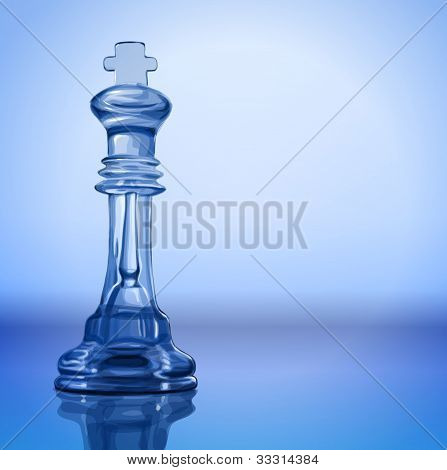 transparent chess piece - King on the mirror surface and a blue background - vector illustration / eps10