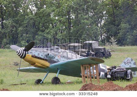KIEV, UKRAINE -MAY 13: Red Star history club. German military airplane Bf-109 (replica) during historical reenactment of WWII, May 13, 2012 in Kiev, Ukraine