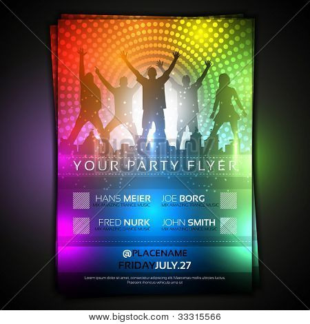 Colorful Party Flyer Template - Fully Editable Vector Design