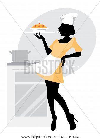 Bäcker Mädchen Kontur