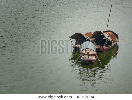 Three Sampans On The Red River.