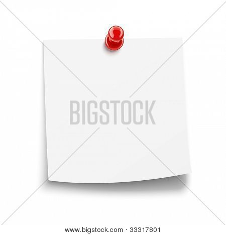 paper notice with pin vector illustration isolated on white background EPS10. Transparent objects and opacity masks used for shadows and lights drawing