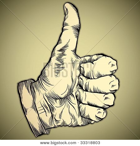 Thumb up like hand symbol.