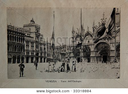 ITALY - CIRCA 1910: A picture printed in Italy shows image of Venice, Vintage postcards
