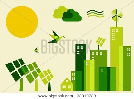 City Sustainable Development Concept Illustration