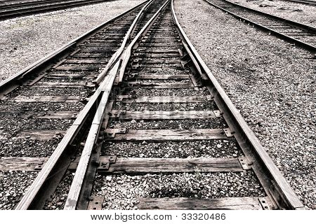 Railway Switch And Rail Lanes On Railroad Tracks
