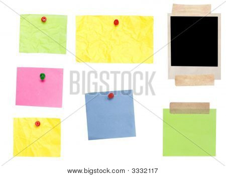 Photo Frame And Colored Empty Notes