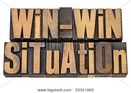 win-win situation - successful outcome of negotiation or conflict resolution concept - isolated words in vintage wood type