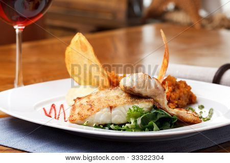 roasted pikeperch fillet with mashed potatoes
