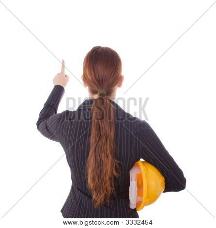 Young Woman In A Construction Concept