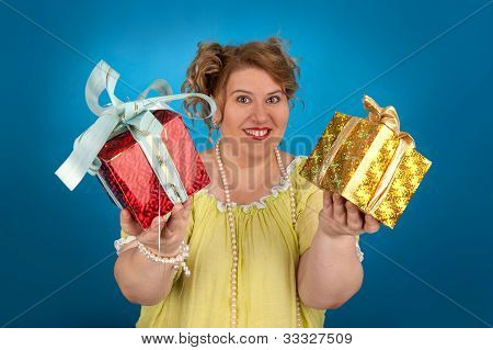 Happy Fat Woman With A Gift