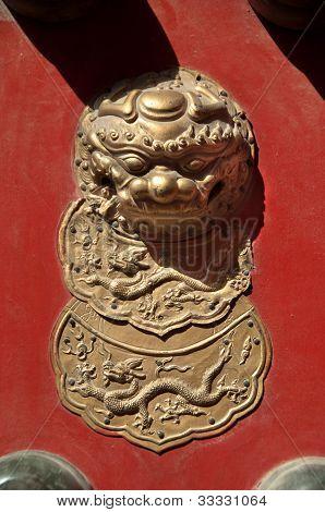 Lion Figure On Red Door, Forbidden City, Beijing