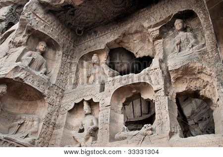 Carved Buddhas At The Yungang Caves, Datong