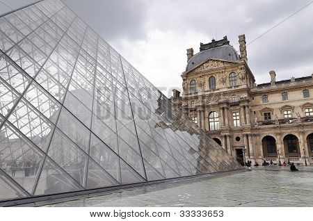 Louvre Museum And Pyramide Du Louvre - Famous Tourist Landmark In Paris