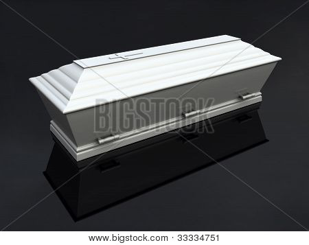 Funeral Casket White, isolated
