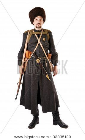 Man In Vintage Costume Of Russian Cossack. The Living History.