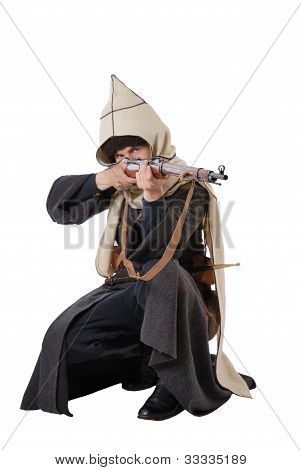 Russian Cossack Points A Rifle In Sitting Position.