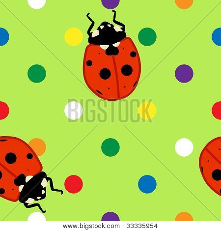 Seamless Ladybugs Over Green Background