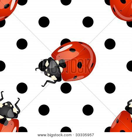 Seamless Ladybugs And Polka Dots Pattern