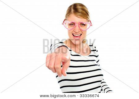 Excited Woman Pointing At You