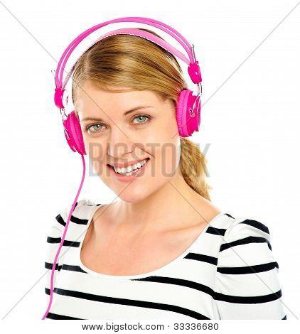 Attractive Cheerful Woman Enjoying Music