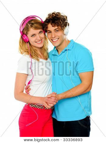 Love Couple Enjoying Music Together